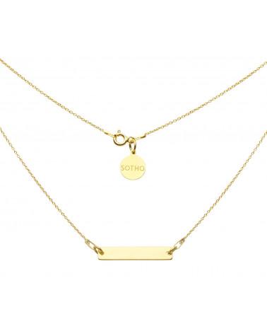Złoty naszyjnik z prostokątną blaszką