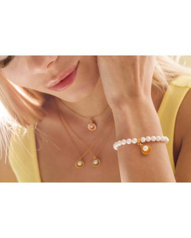 Perłowa bransoletka z pereł SWAROVSKI® CRYSTAL ze słowikiem w różowym złocie