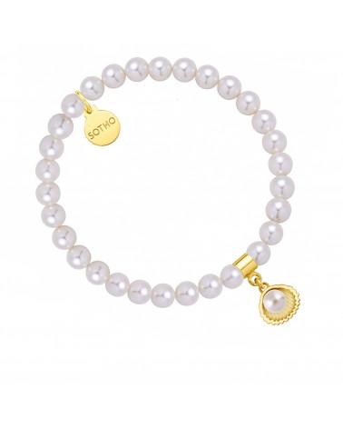 Bransoletka z pereł SWAROVSKI® CRYSTAL w kolorze White ze złotą muszelką