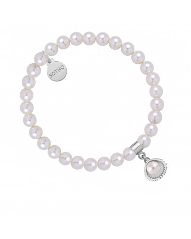 Bransoletka z pereł SWAROVSKI® CRYSTAL w kolorze White ze srebrną muszelką