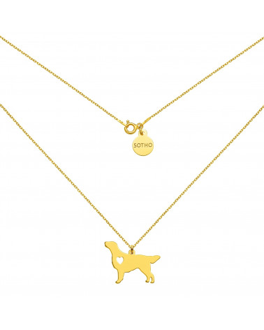 Złoty naszyjnik z psem rasy flat coated retriever