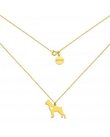 Złoty naszyjnik z psem rasy bokser