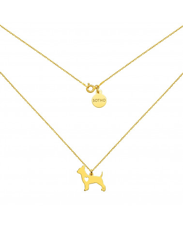 Złoty naszyjnik z psem rasy chihuahua