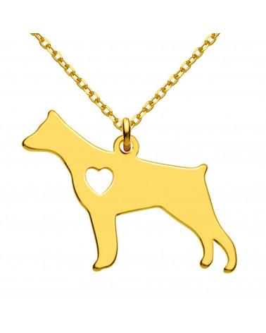Złoty naszyjnik z psem rasy doberman