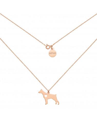 Naszyjnik z różowego złota z psem rasy doberman