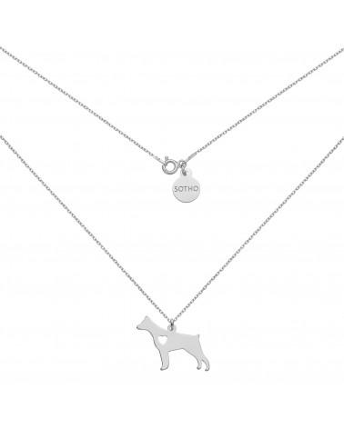 Srebrny naszyjnik z psem rasy doberman