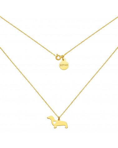 Złoty naszyjnik z psem rasy jamnik