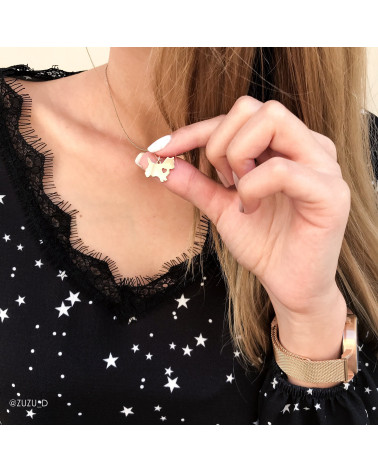 Srebrny naszyjnik z ażurowym lisem