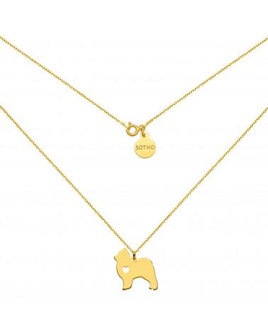 Złoty naszyjnik z psem rasy pomeranian