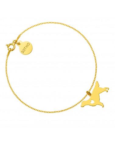 Złota bransoletka z psem rasy flat coated retriever