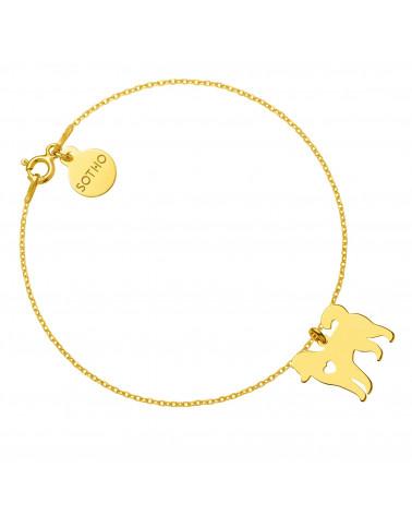 Złota bransoletka z psem rasy husky