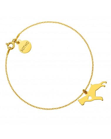 Złota bransoletka z psem rasy bokser