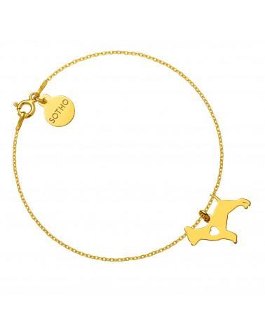 Złota bransoletka z psem rasy chihuahua