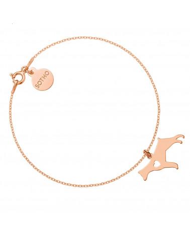 Bransoletka z różowego złota z psem rasy doberman