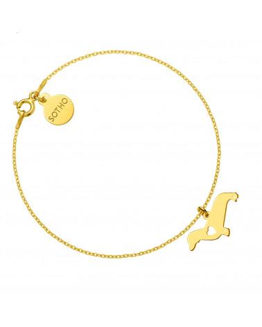Złota bransoletka z psem rasy jamnik
