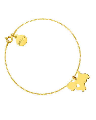 Złota bransoletka z psem rasy yorkshire terrier