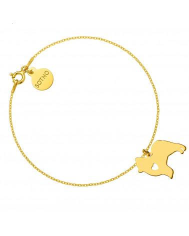 Złota bransoletka z psem rasy pomeranian