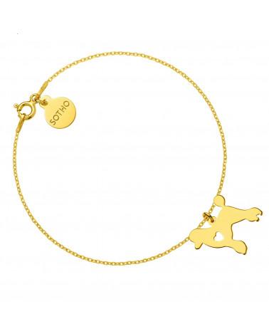 Złota bransoletka z psem rasy pudel