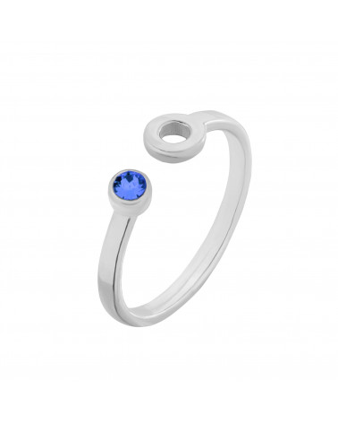 Srebrny pierścionek z karmą i kryształkiem Capri Blue SWAROVSKI® CRYSTAL
