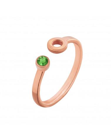 Pierścionek z różowego złota z karmą i kryształkiem Fern Green SWAROVSKI® CRYSTAL