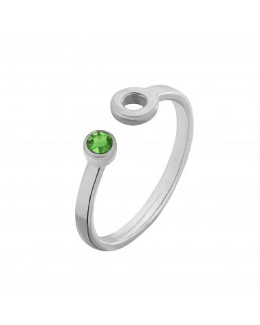 Srebrny pierścionek z karmą i kryształkiem Fern Green SWAROVSKI® CRYSTAL