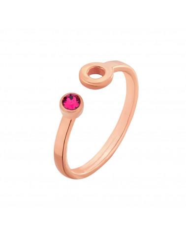 Pierścionek z różowego złota z karmą i kryształkiem Fuchsia SWAROVSKI® CRYSTAL