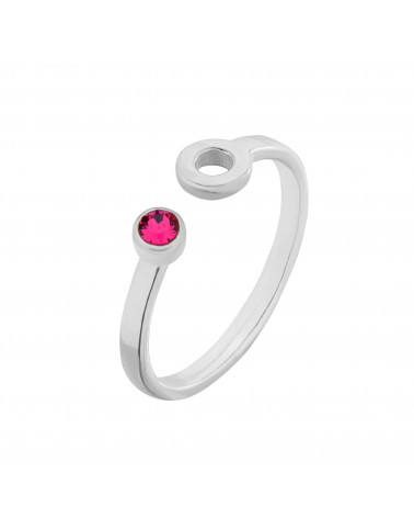 Srebrny pierścionek z karmą i kryształkiem Fuchsia SWAROVSKI® CRYSTAL