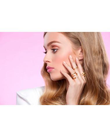 Srebrny pierścionek z karmą i kryształkiem Light Peach SWAROVSKI® CRYSTAL