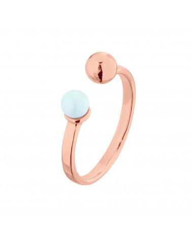 Pierścionek z różowego złota z kuleczką i perłą Pastel Blue SWAROVSKI® CRYSTAL