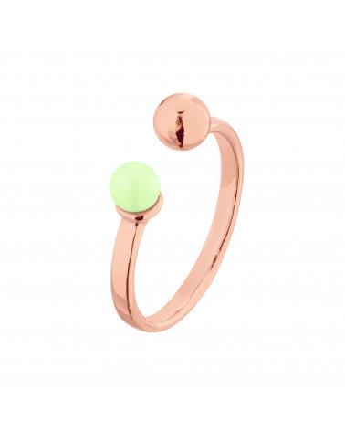 Pierścionek z różowego złota z kuleczką i perłą Pastel Green SWAROVSKI® CRYSTAL