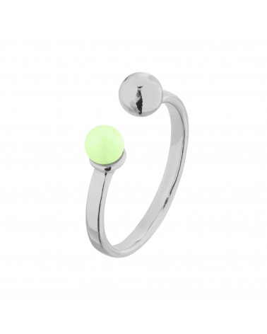 Srebrny pierścionek z kuleczką i perłą Pastel Green SWAROVSKI® CRYSTAL