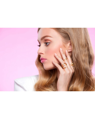 Pierścionek z różowego złota z kuleczką i perłą Pastel Grey SWAROVSKI® CRYSTAL