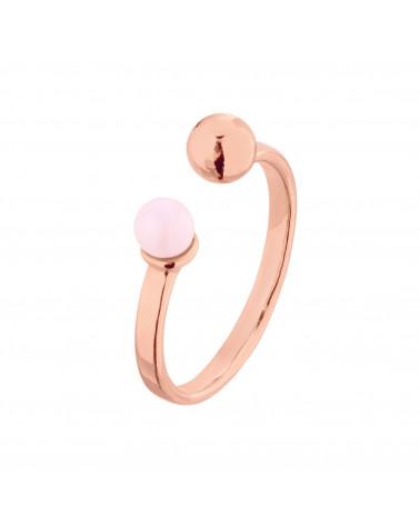 Pierścionek z różowego złota z kuleczką i perłą Pastel Rose SWAROVSKI® CRYSTAL