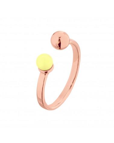 Pierścionek z różowego złota z kuleczką i perłą Pastel Yellow SWAROVSKI® CRYSTAL