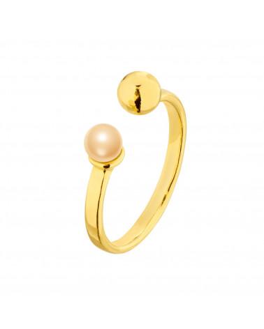 Złoty pierścionek z kuleczką i perłą Peach SWAROVSKI® CRYSTAL