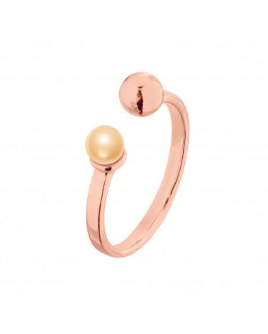 Pierścionek z różowego złota z kuleczką i perłą Peach SWAROVSKI® CRYSTAL