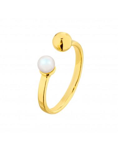 Złoty pierścionek z kuleczką i perłą Pearlescent SWAROVSKI® CRYSTAL