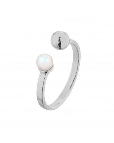 Srebrny pierścionek z kuleczką i perłą Pearlescent SWAROVSKI® CRYSTAL