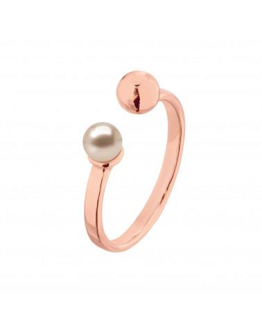 Pierścionek z różowego złota z kuleczką i perłą Powder Almond SWAROVSKI® CRYSTAL