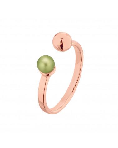 Pierścionek z różowego złota z kuleczką i perłą Powder Green SWAROVSKI® CRYSTAL