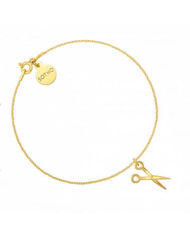 Złota bransoletka z nożyczkami