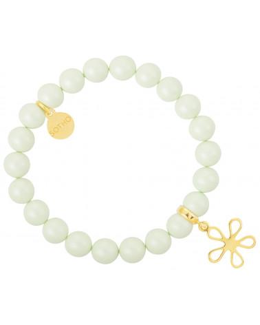 Zielona pastelowa bransoletka perły SWAROVSKI® ELEMENTS ze złotą rozetą
