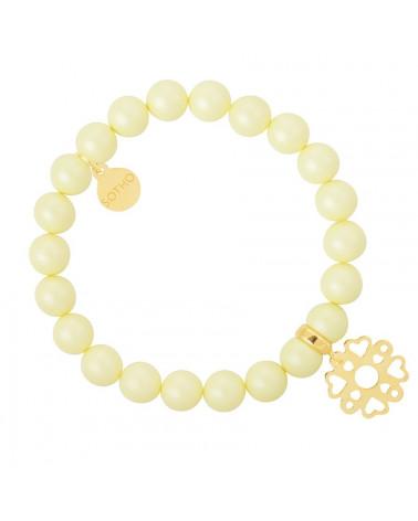 Żółta pastelowa bransoletka perły SWAROVSKI® ELEMENTS ze złotą rozetą