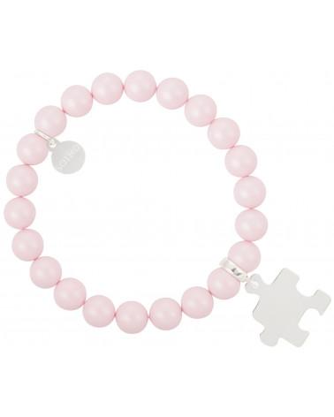 Różowa pastelowa bransoletka perły SWAROVSKI® ELEMENTS ze srebrnym puzzlem