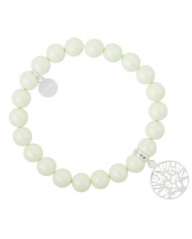 Zielona pastelowa bransoletka perły SWAROVSKI® ELEMENTS ze srebrnym drzewkiem