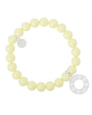 Żółta pastelowa bransoletka perły SWAROVSKI® ELEMENTS ze srebrną rozetą