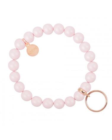 Różowa pastelowa bransoletka perły SWAROVSKI® ELEMENTS ze złotą Karmą