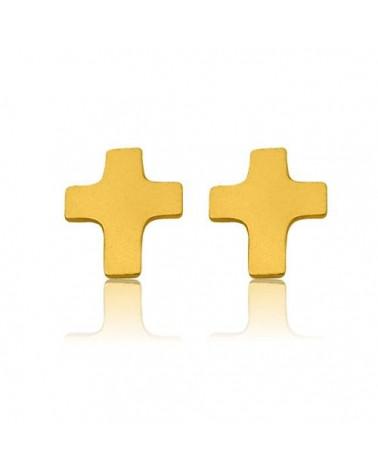 Złote kolczyki krzyżyki