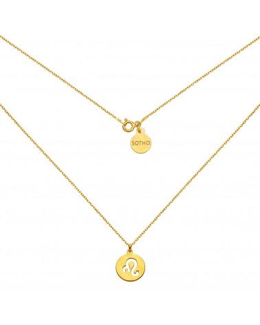 Złoty matowy naszyjnik z zodiakiem Lwa