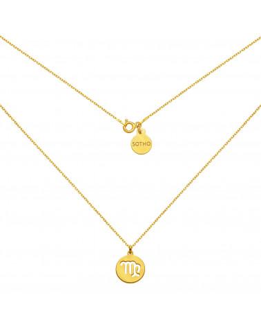 Złoty matowy naszyjnik z zodiakiem Panny